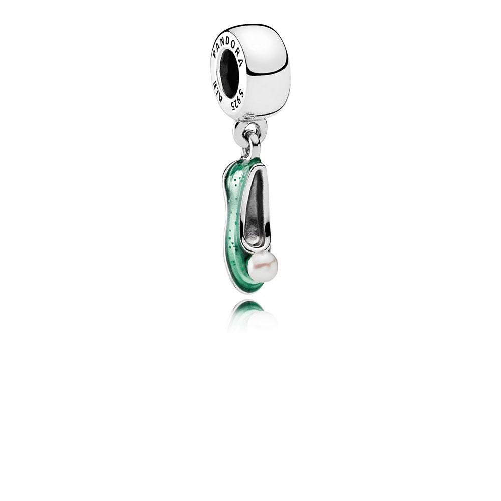 Disney, Tinker Bell's Shoe Dangle Charm, White Cultured Pearl & Glittering Green Enamel
