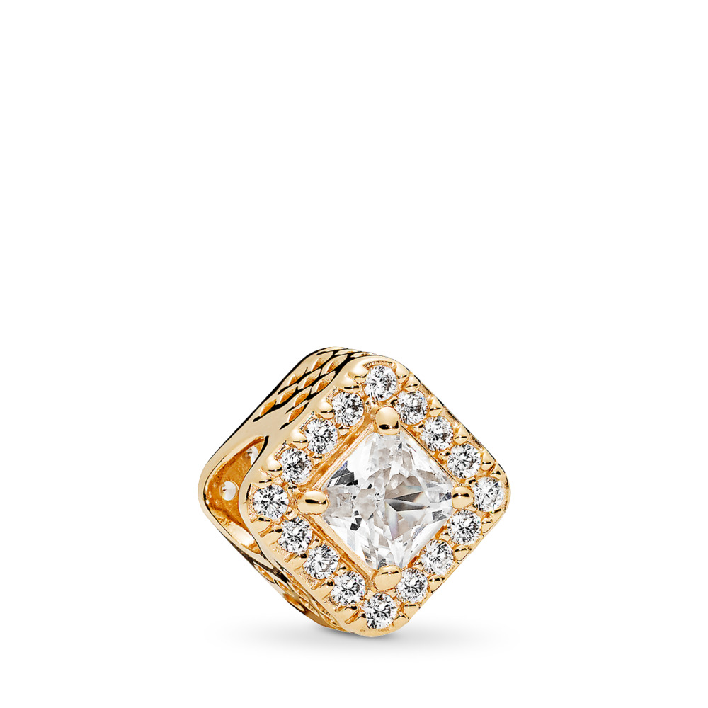 Geometric Radiance Charm, 14K Gold & Clear CZ, Yellow Gold 14 k, Cubic Zirconia - PANDORA - #756207CZ