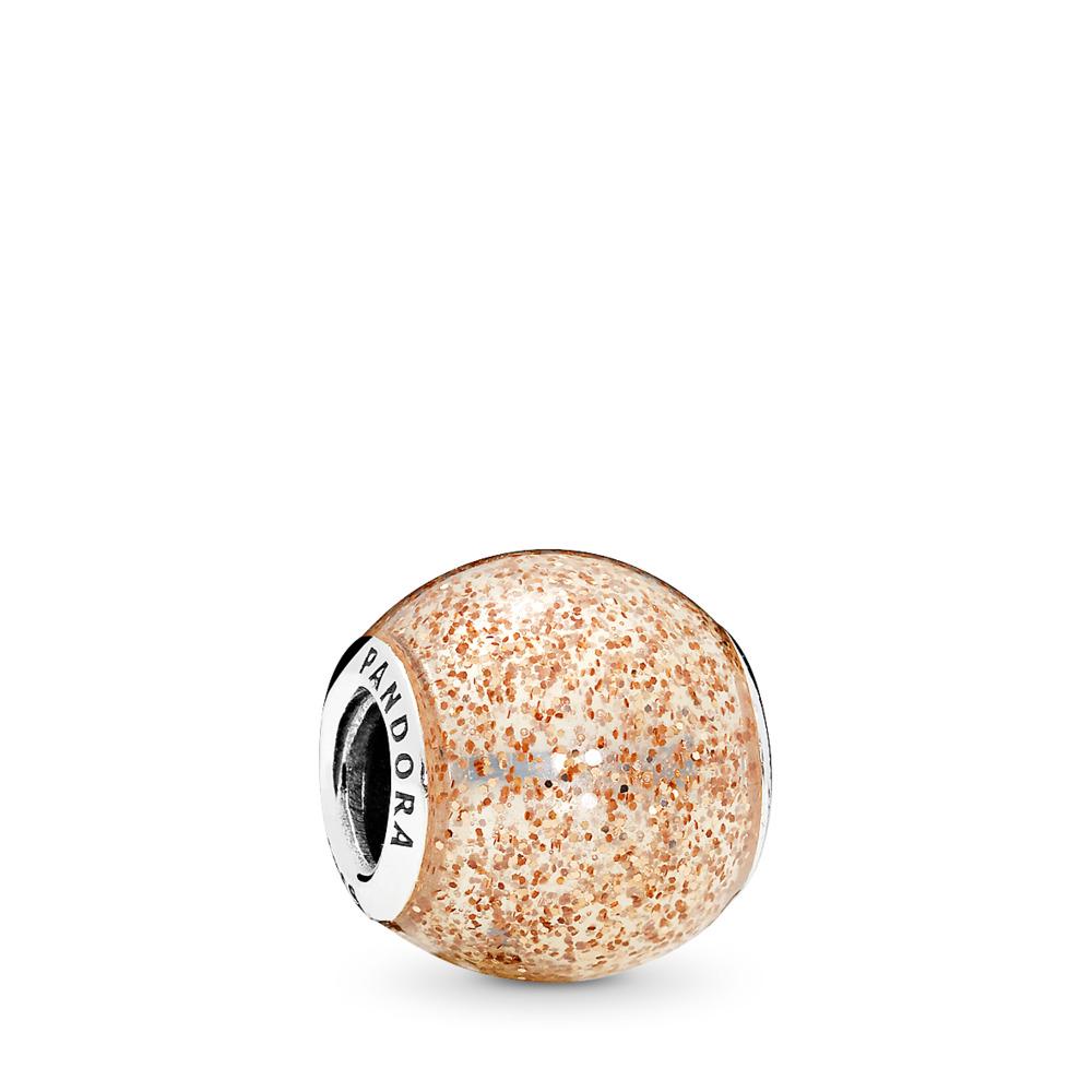 Glitter Ball Charm, Rose Golden Glitter Enamel, Sterling silver, Enamel, Yellow - PANDORA - #796327EN145
