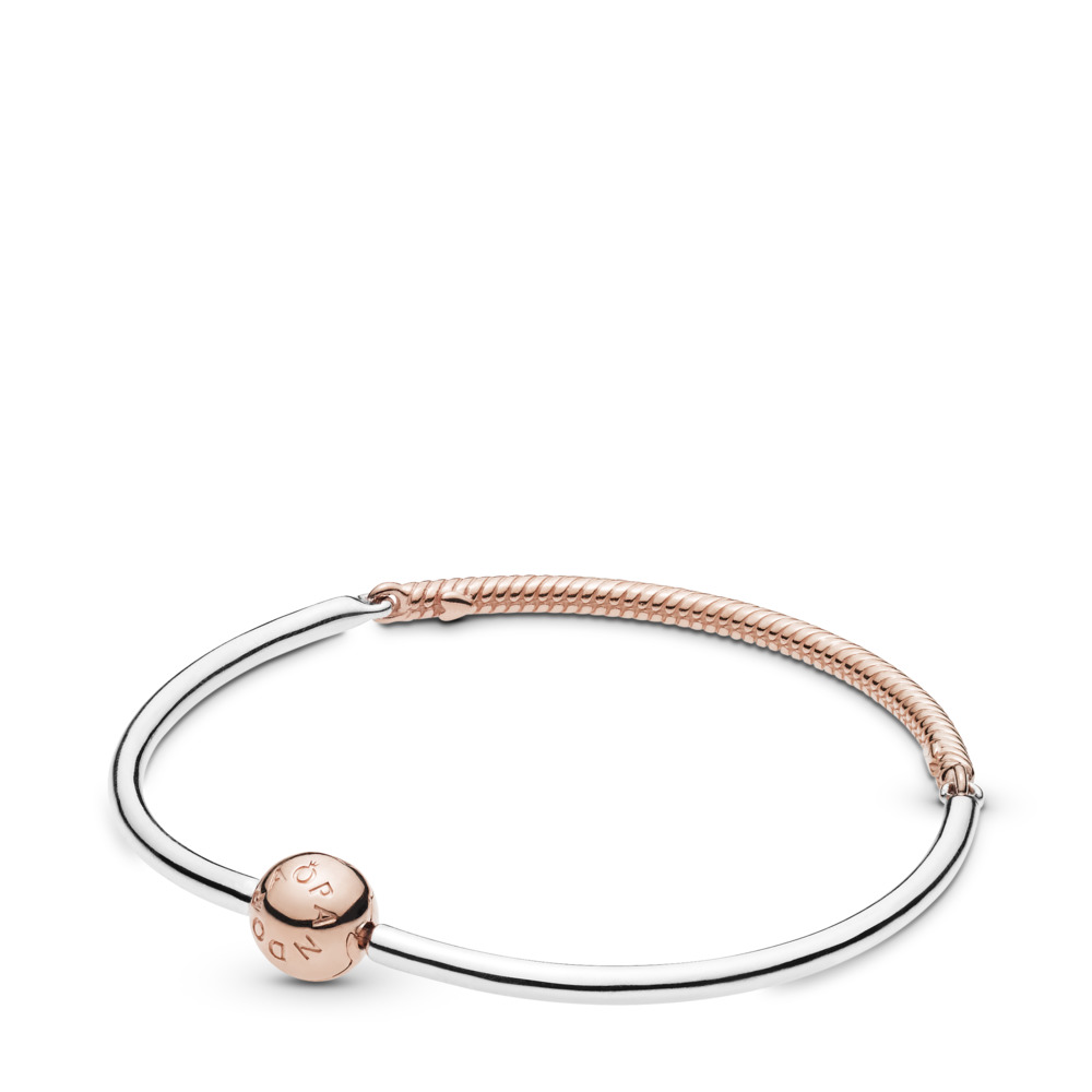 Moments Three-Link Pandora Rose™ Bangle Bracelet, PANDORA Rose with sterling silver - PANDORA - #588143