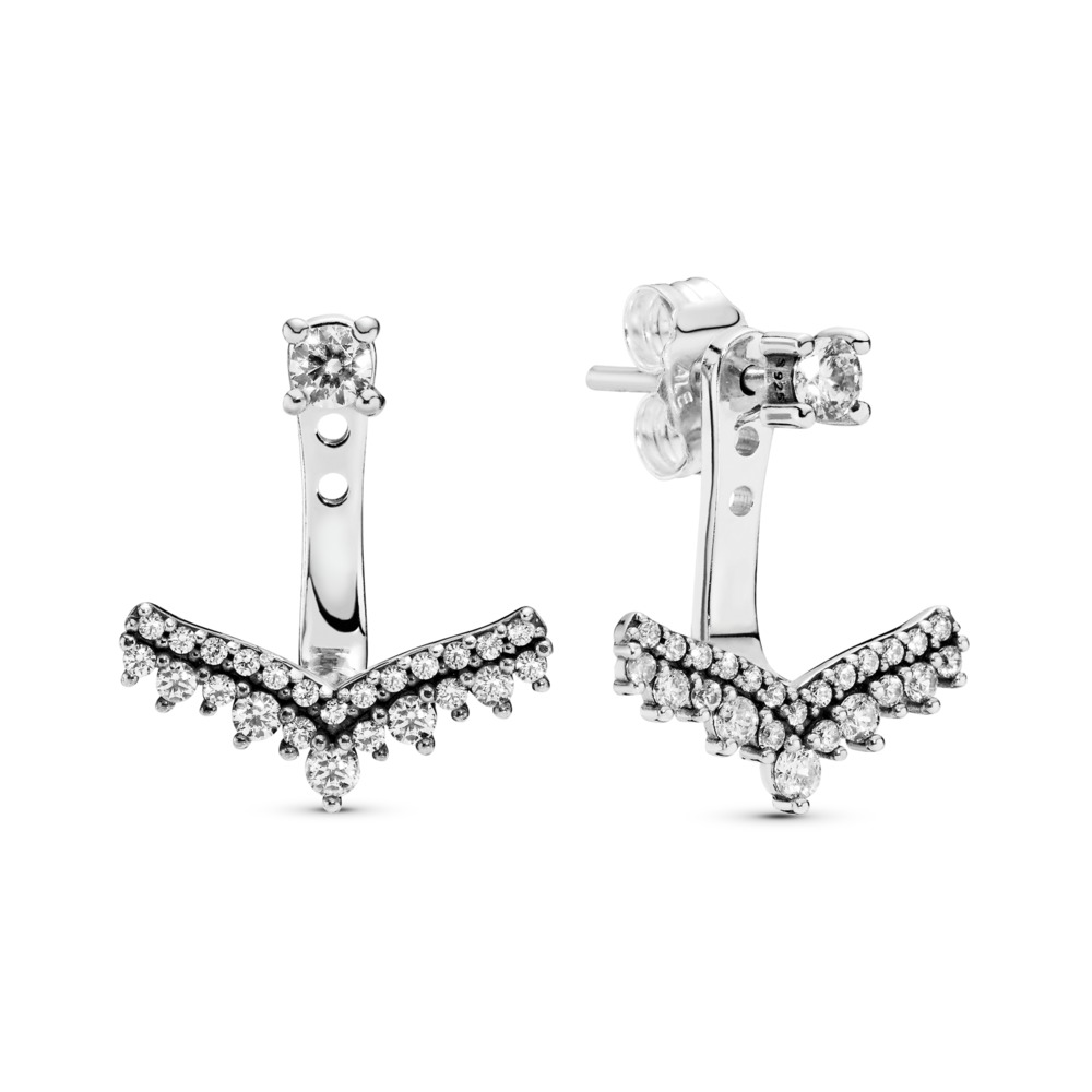 Princess Wish Earrings, Clear CZ, Sterling silver, Cubic Zirconia - PANDORA - #297739CZ