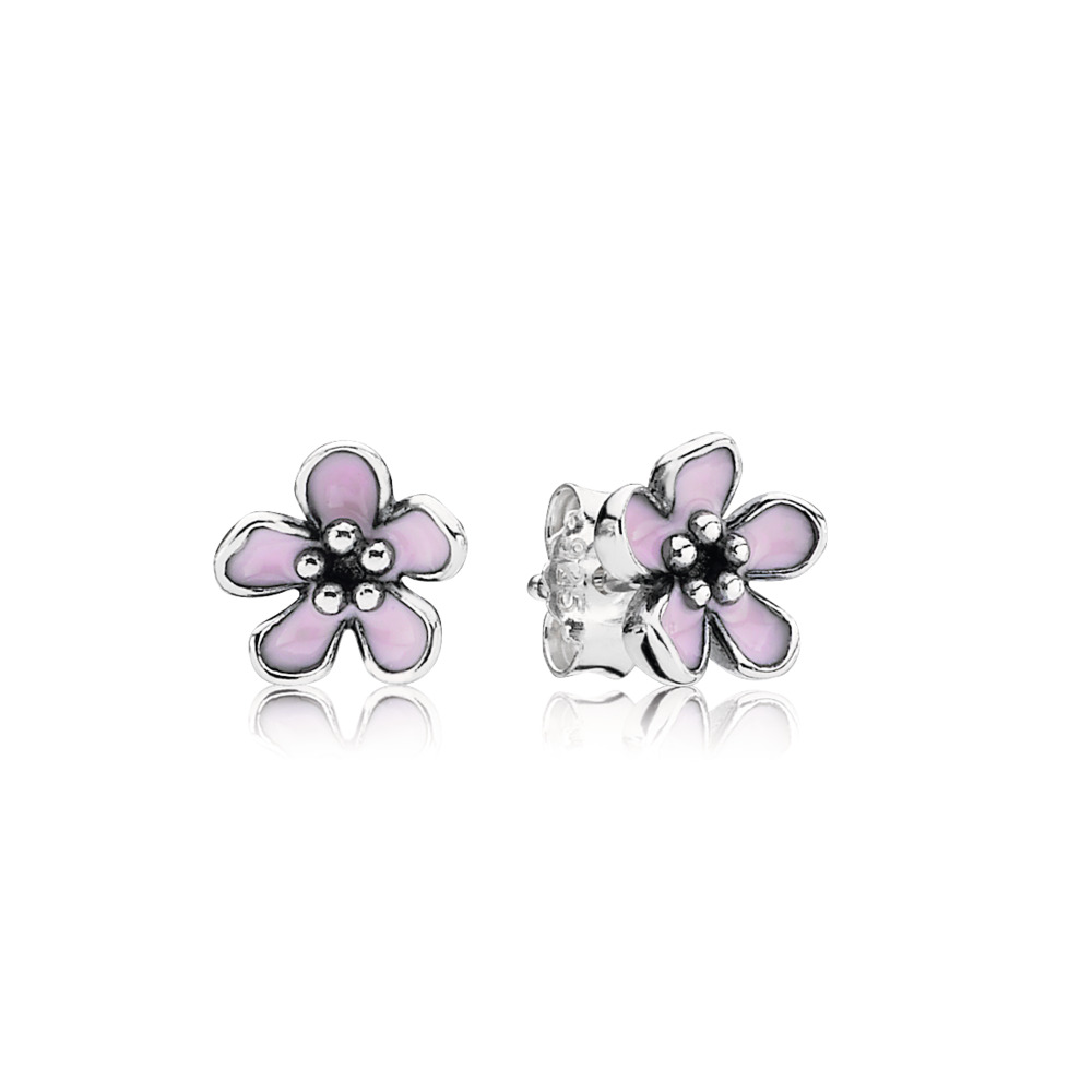 Cherry Blossom Stud Earrings, Pink Enamel, Sterling silver, Enamel, Pink - PANDORA - #290537EN40