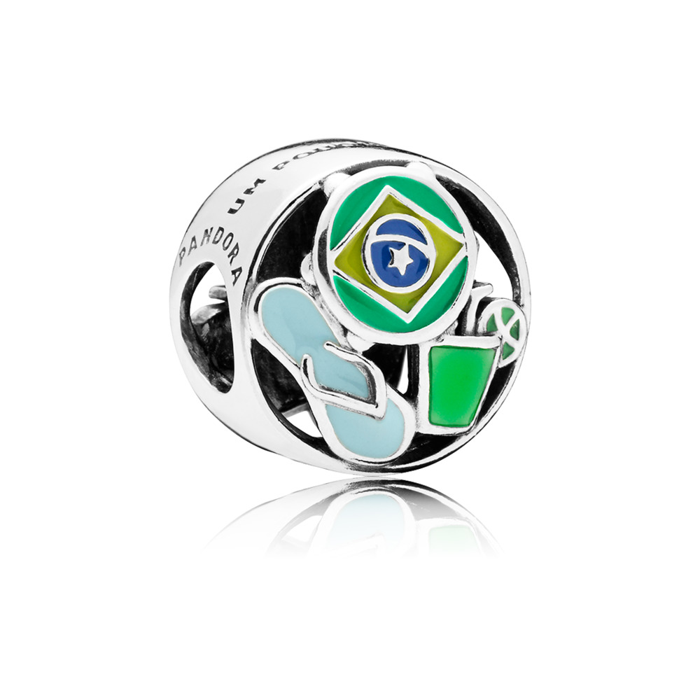 Brazil Forever Charm, Green, Blue & Yellow Enamel, Sterling silver, Enamel, Blue - PANDORA - #797219ENMX