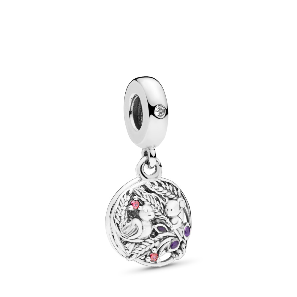 Always By Your Side Dangle Charm, Multi-Colored CZ & Purple Enamel, Sterling silver, Enamel, Purple, Cubic Zirconia - PANDORA - #797671CZRMX