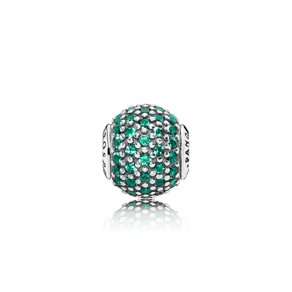 PROSPERITY Charm, Green Crystal, Sterling silver, Silicone, Green, Crystal - PANDORA - #796061NGC
