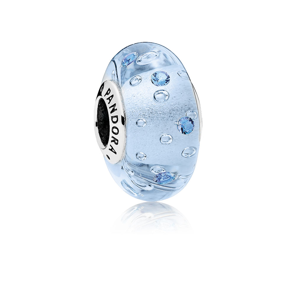 Ice Drops Murano Glass Charm, Blue CZ