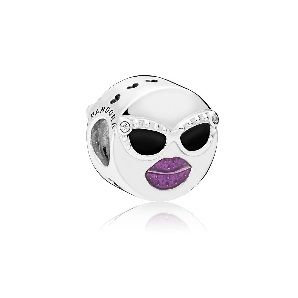 Stay Cool Charm, Black & Purple Enamel & Clear CZ