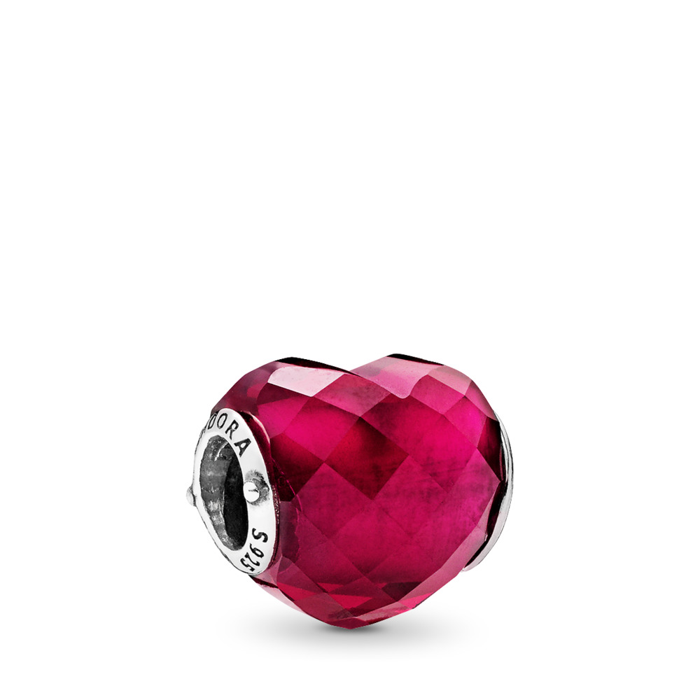 Fuchsia Shape of Love Charm, Fuchsia Rose Crystal, Sterling silver, Pink, Crystal - PANDORA - #796563NFR