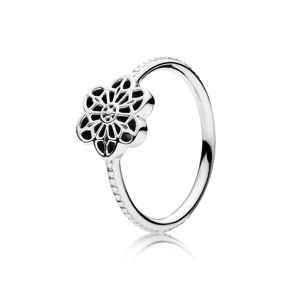 Floral Daisy Lace Ring, Sterling silver - PANDORA - #190992