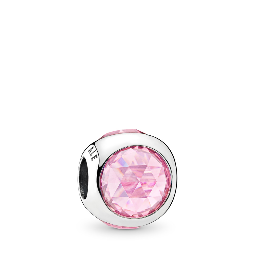 Radiant Droplet Charm, Pink CZ, Sterling silver, Pink, Cubic Zirconia - PANDORA - #792095PCZ
