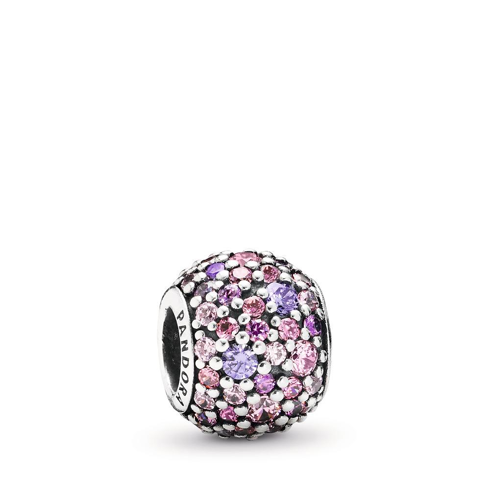 Pavé Lights Charm, Multi-Colored CZ, Sterling silver, Pink, Cubic Zirconia - PANDORA - #791261ACZMX