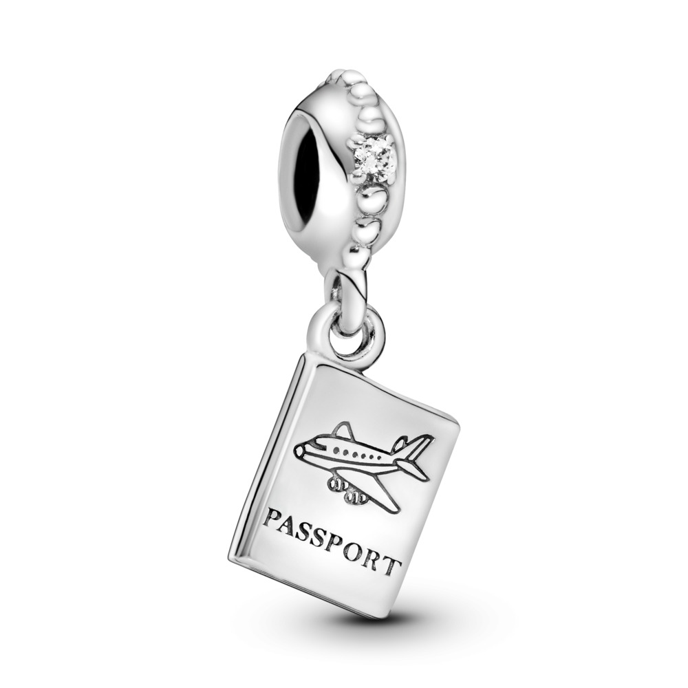 Adventure Awaits Dangle Charm, Clear CZ, Sterling silver, Cubic Zirconia - PANDORA - #791147CZ