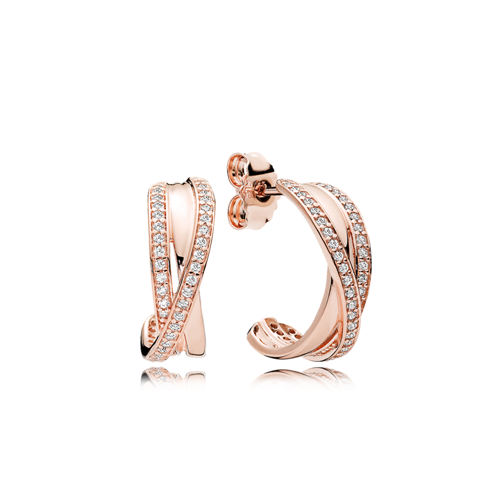 Entwined Hoop Earrings, PANDORA Rose™ & Clear CZ
