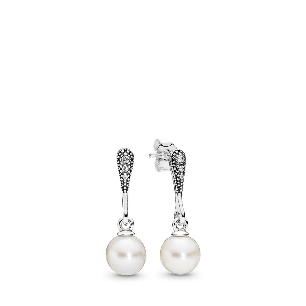 Elegant Beauty Drop Earrings, White Pearl & Clear CZ, Sterling silver, White, Mixed stones - PANDORA - #290733P