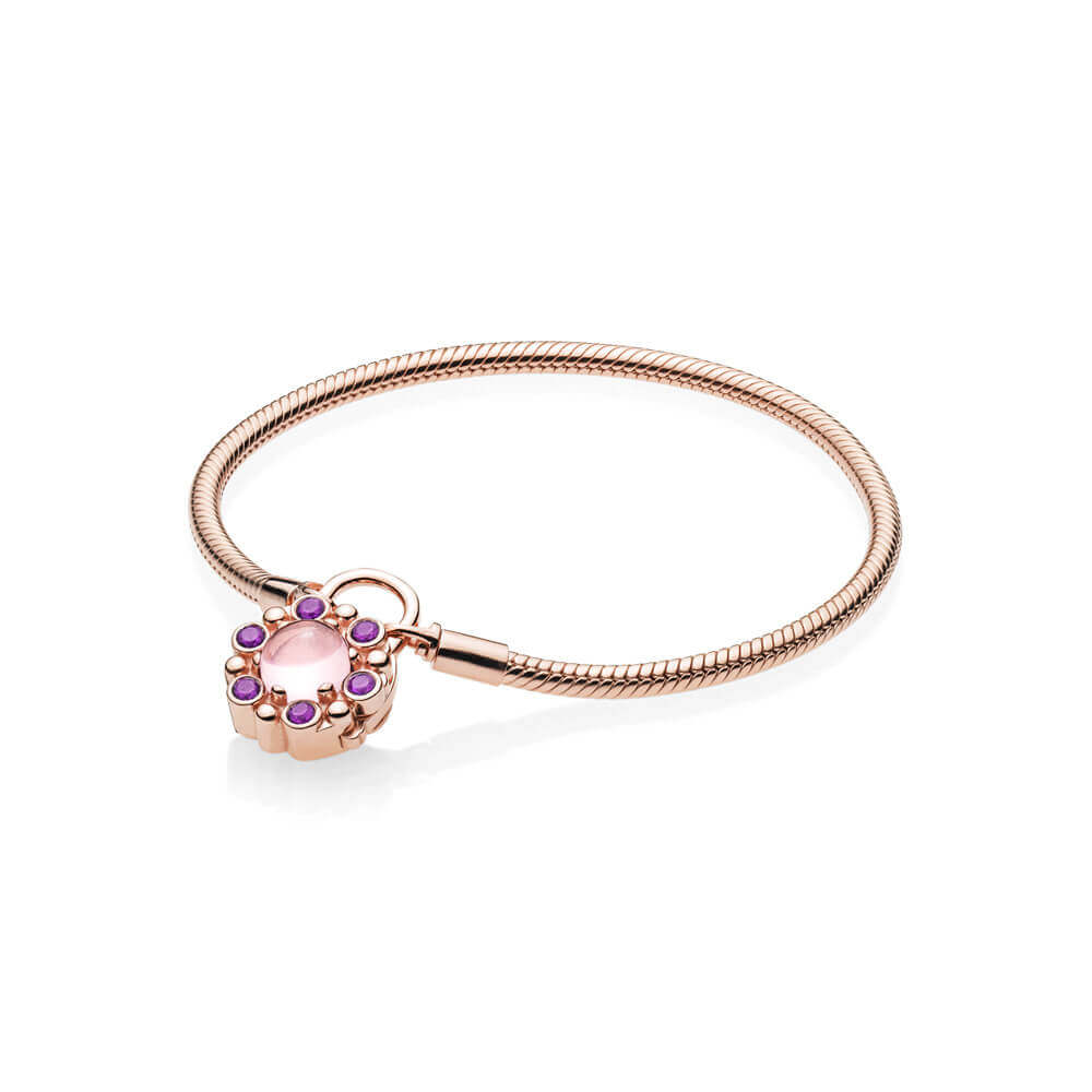 Heraldic Radiance Padlock Bracelet, PANDORA Rose™ & Pink & Purple Crystals