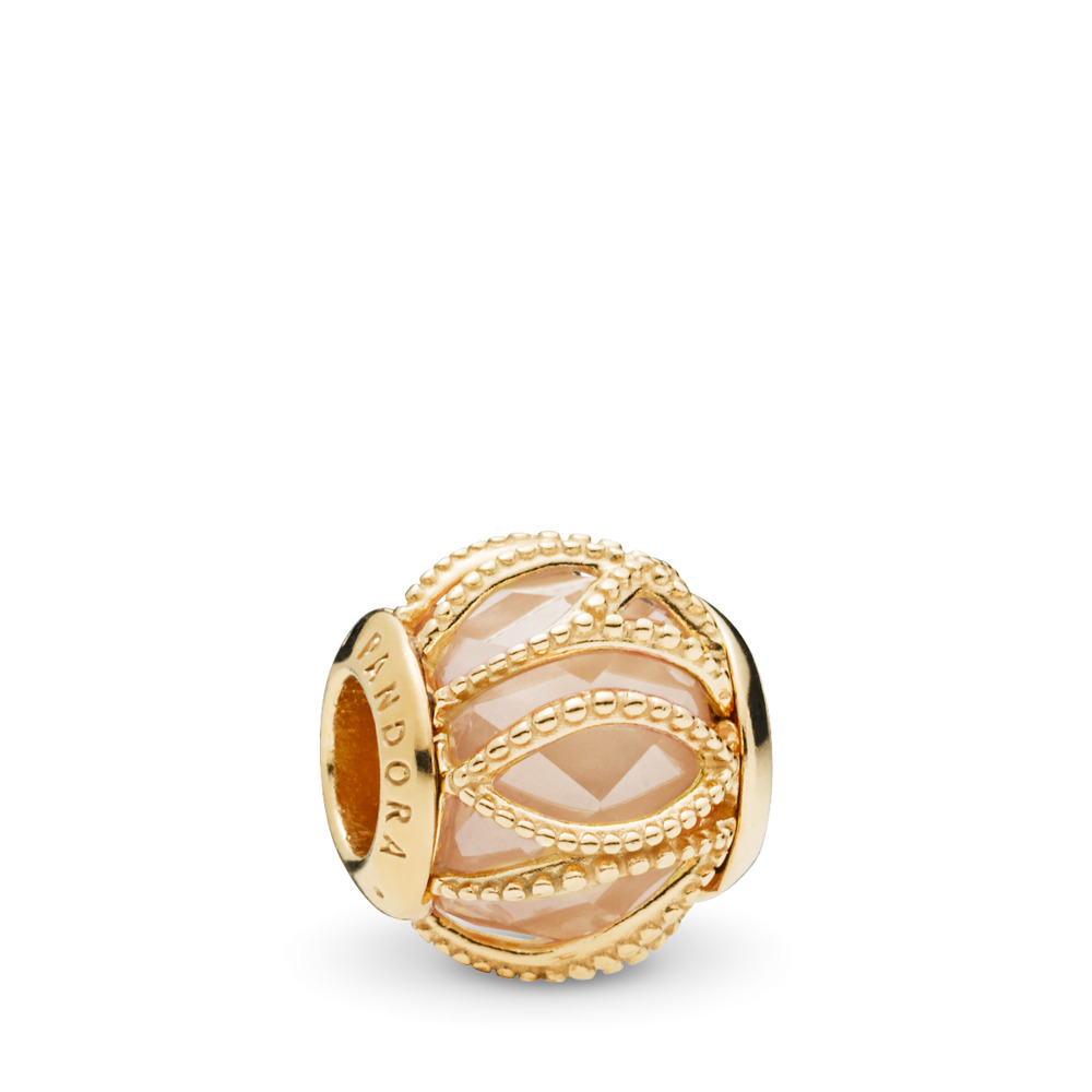 Intertwining Radiance Charm, PANDORA Shine™ & Golden Colored CZ, 18ct Gold Plated, Gold, Cubic Zirconia - PANDORA - #761968CCZ
