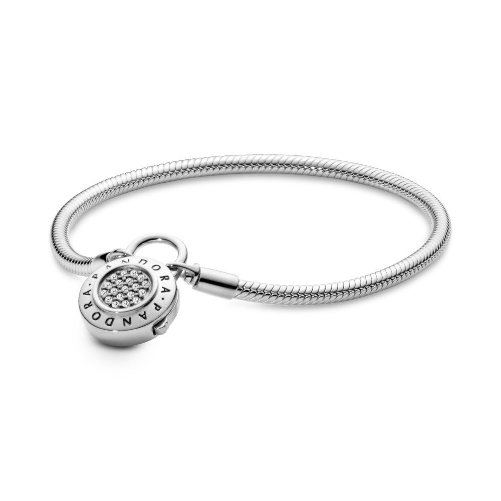Sterling Silver Smooth Bracelet with PANDORA Signature Padlock Clasp, Clear CZ, Sterling silver, Cubic Zirconia - PANDORA - #597092CZ