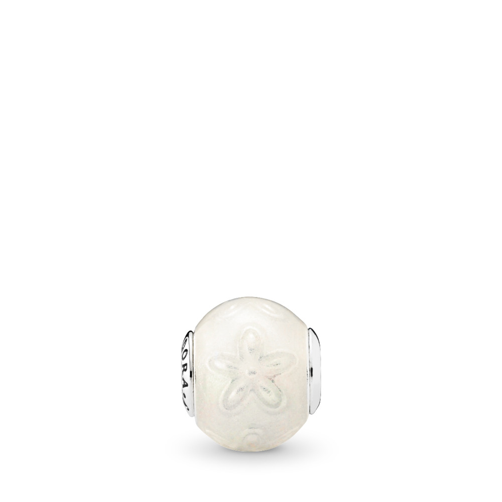 JOY Charm, Transparent White Enamel, Sterling silver, Mixed Material, White - PANDORA - #796087EN140