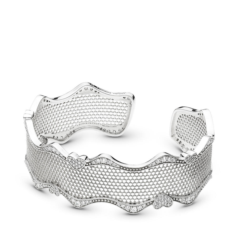 Lace of Love Bracelet Cuff, Clear CZ, Sterling silver, Cubic Zirconia - PANDORA - #597704CZ