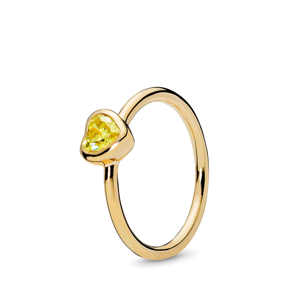 Radiant Heart Ring, PANDORA Shine™ & Yellow Cubic Zirconia, 18ct Gold Plated, Yellow, Cubic Zirconia - PANDORA - #167089CSY