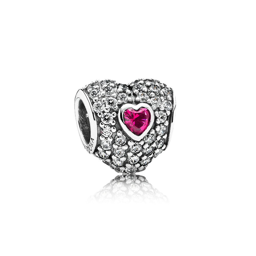 In My Heart Charm, Clear CZ & Synthetic Ruby, Sterling silver, Red, Mixed stones - PANDORA - #791168SRU