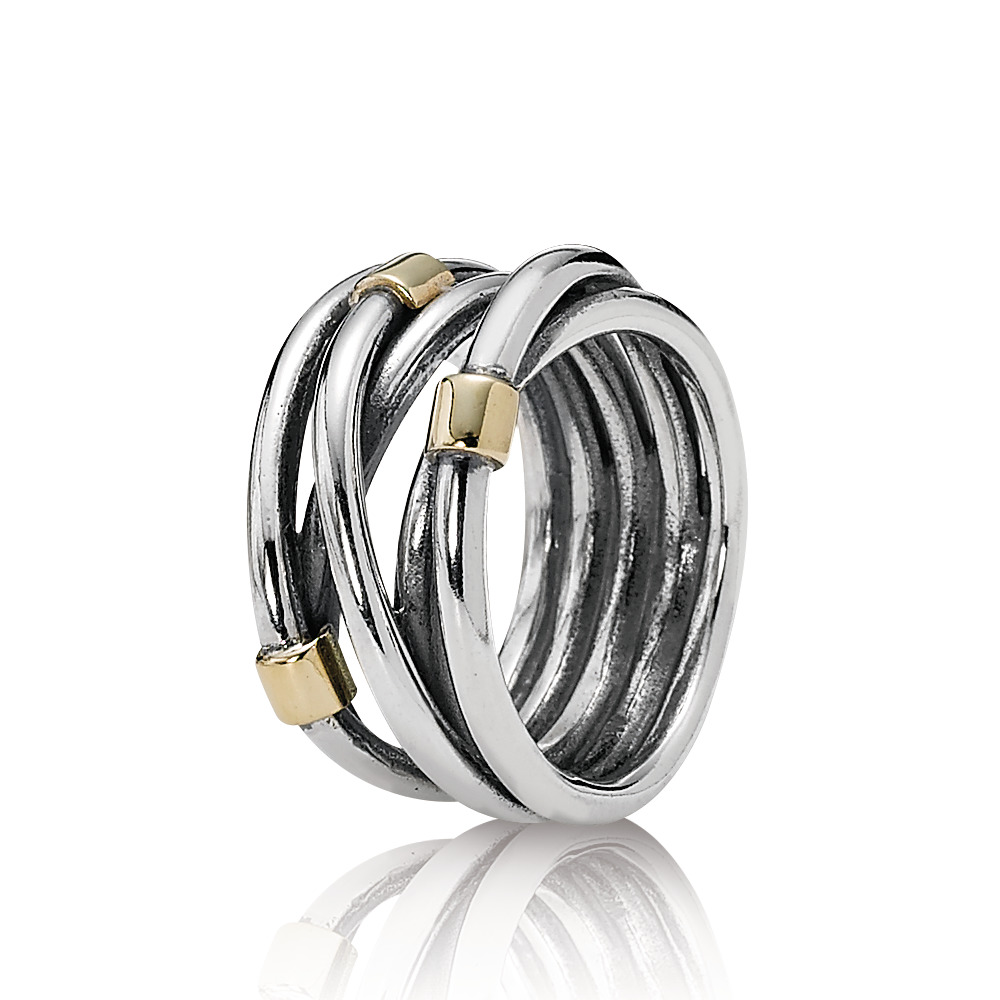 Silver Rope Bands Ring, Two Tone - PANDORA - #190383