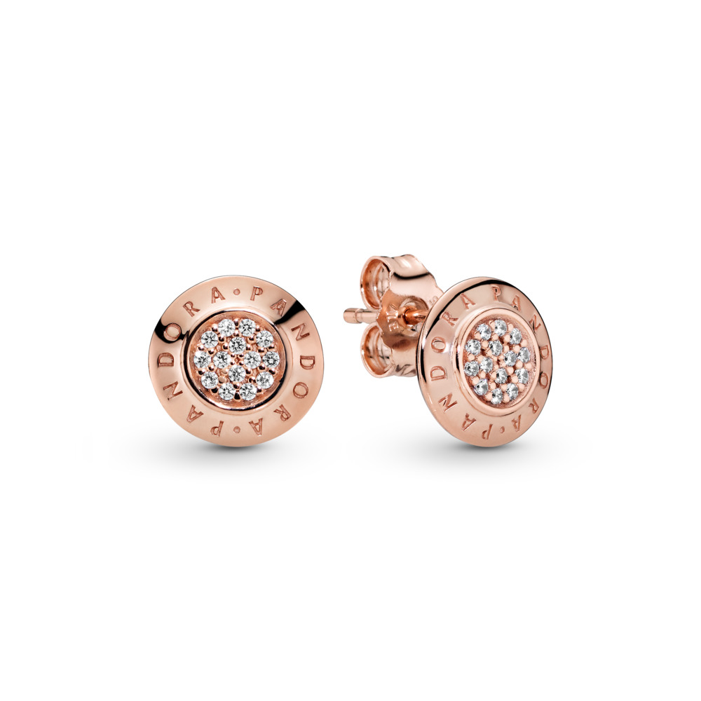 PANDORA Signature Stud Earrings, PANDORA Rose™ & Clear CZ, PANDORA Rose, Cubic Zirconia - PANDORA - #280559CZ