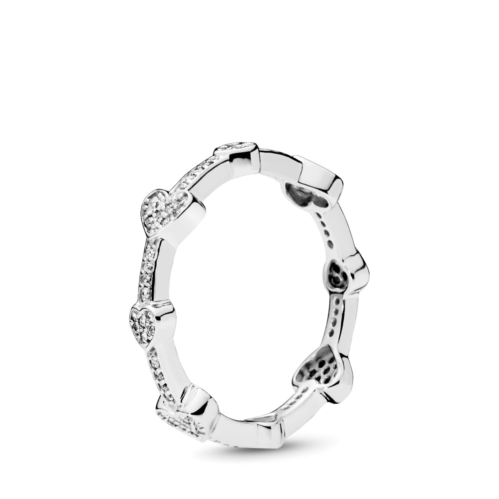 Alluring Hearts Ring, Clear CZ, Sterling silver, Cubic Zirconia - PANDORA - #197729CZ