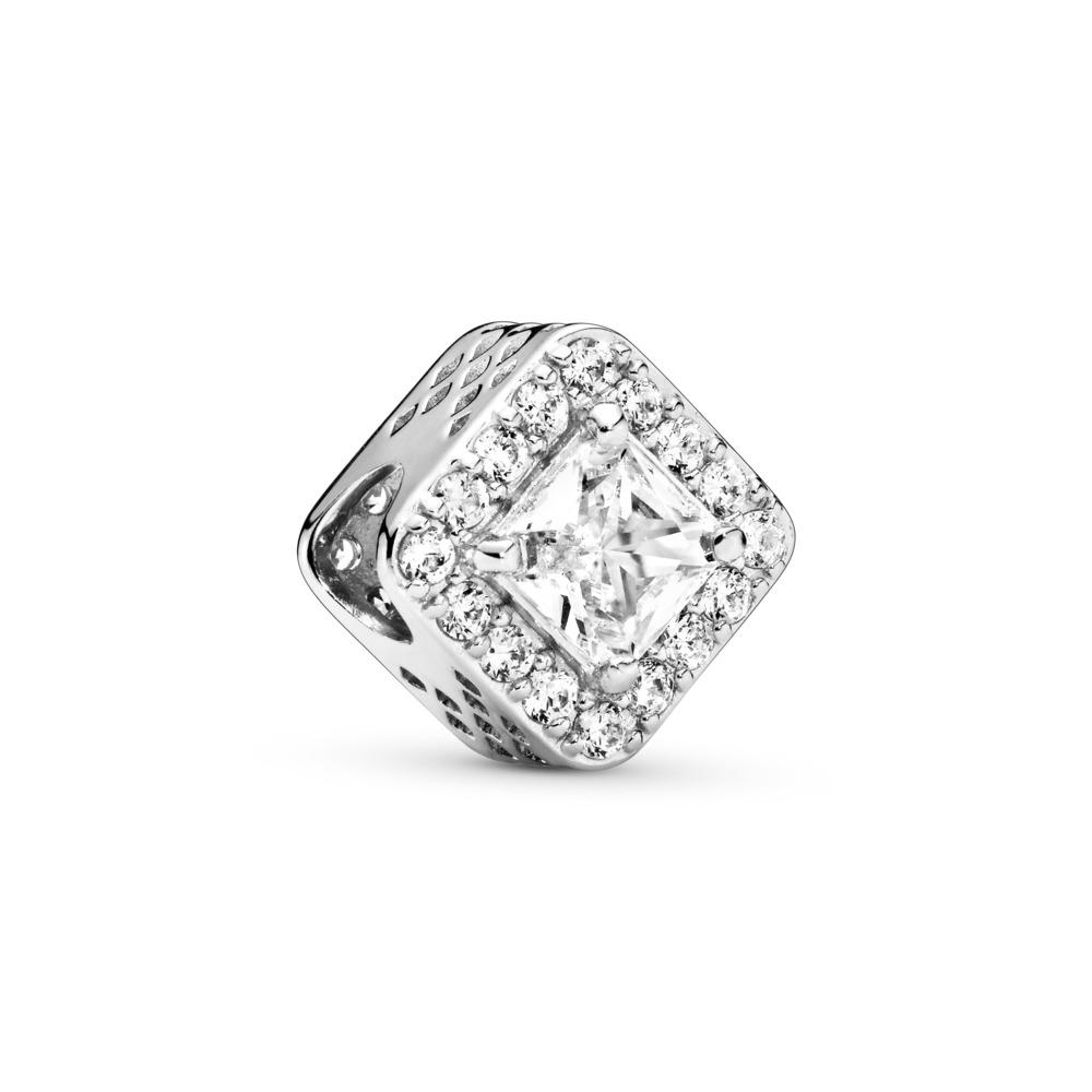 Geometric Radiance Charm, Clear CZ, Sterling silver, Cubic Zirconia - PANDORA - #796206CZ