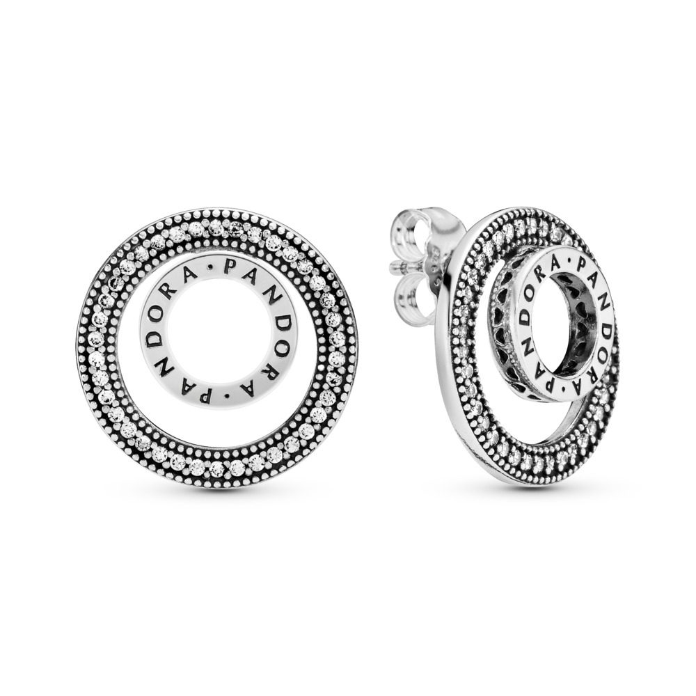 Forever PANDORA Signature Earrings, Clear CZ, Sterling silver, Cubic Zirconia - PANDORA - #297446CZ