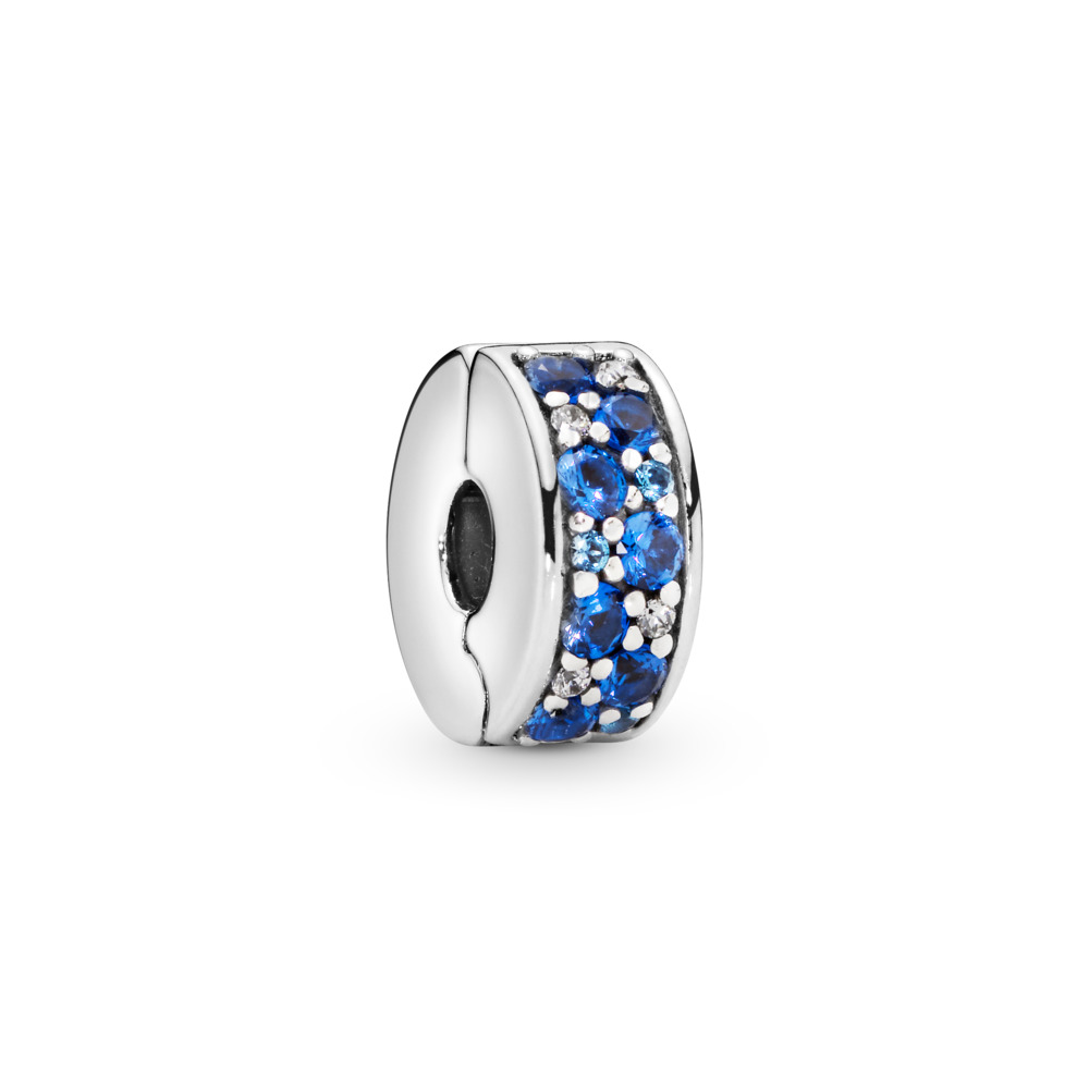 Mosaic Shining Elegance Clip, Multi-Colored Crystals & Clear CZ, Sterling silver, Silicone, Blue, Mixed stones - PANDORA - #791817NSBMX