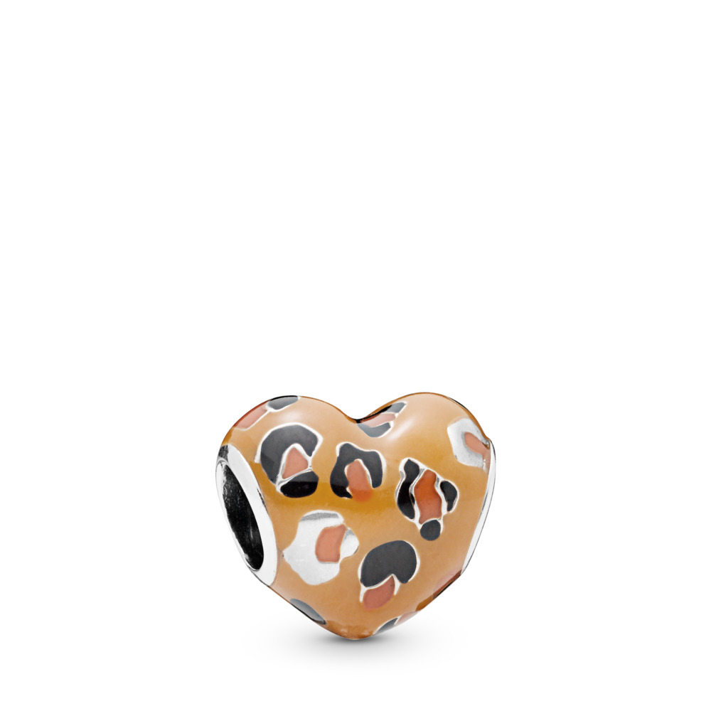 Spotted Heart Charm, Sterling silver, Enamel, Black - PANDORA - #798065ENMX