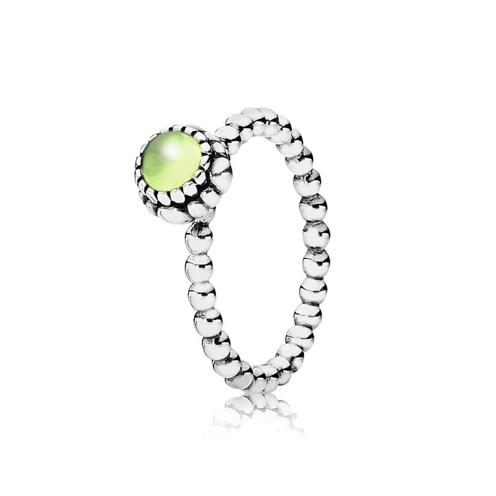 Birthday Blooms Ring, August, Peridot, Sterling silver, Green, Peridot - PANDORA - #190854PE