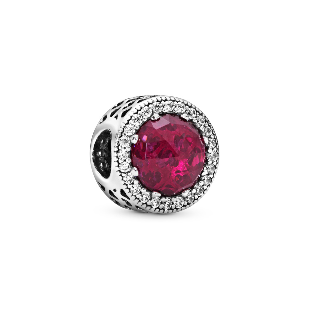 Radiant Hearts Charm, Cerise Crystal & Clear CZ, Sterling silver, Pink, Mixed stones - PANDORA - #791725NCC