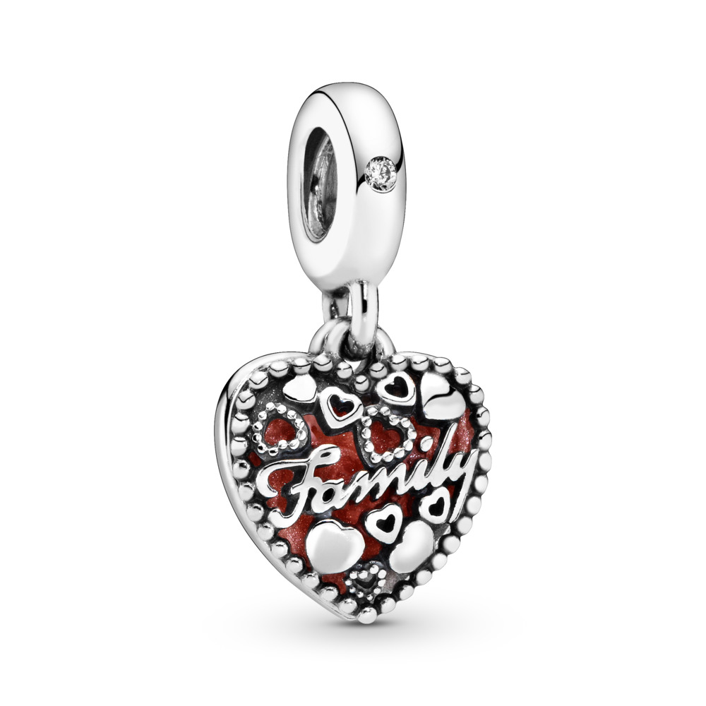 Love Makes A Family Dangle Charm, Pink Enamel & Clear CZ, Sterling silver, Enamel, Pink, Cubic Zirconia - PANDORA - #796459EN28