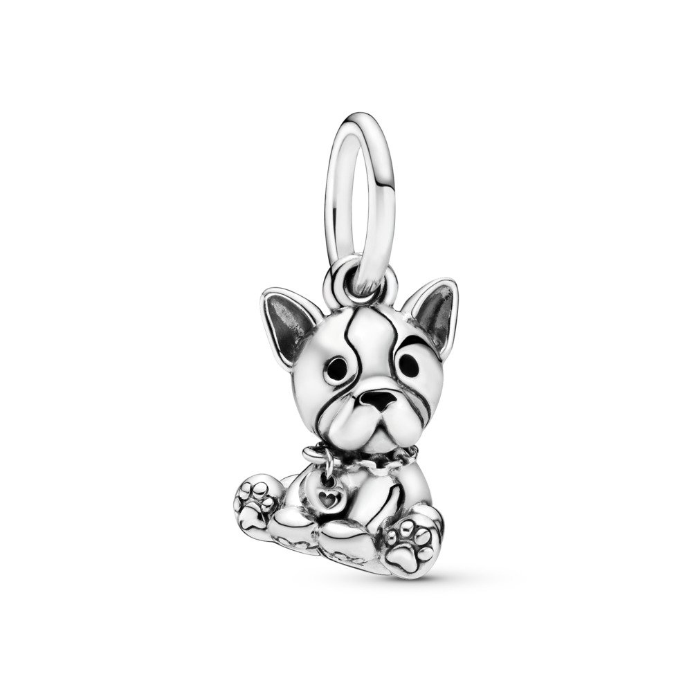 Bulldog Puppy Dangle Charm, Sterling silver, Enamel, Black - PANDORA - #798008EN16
