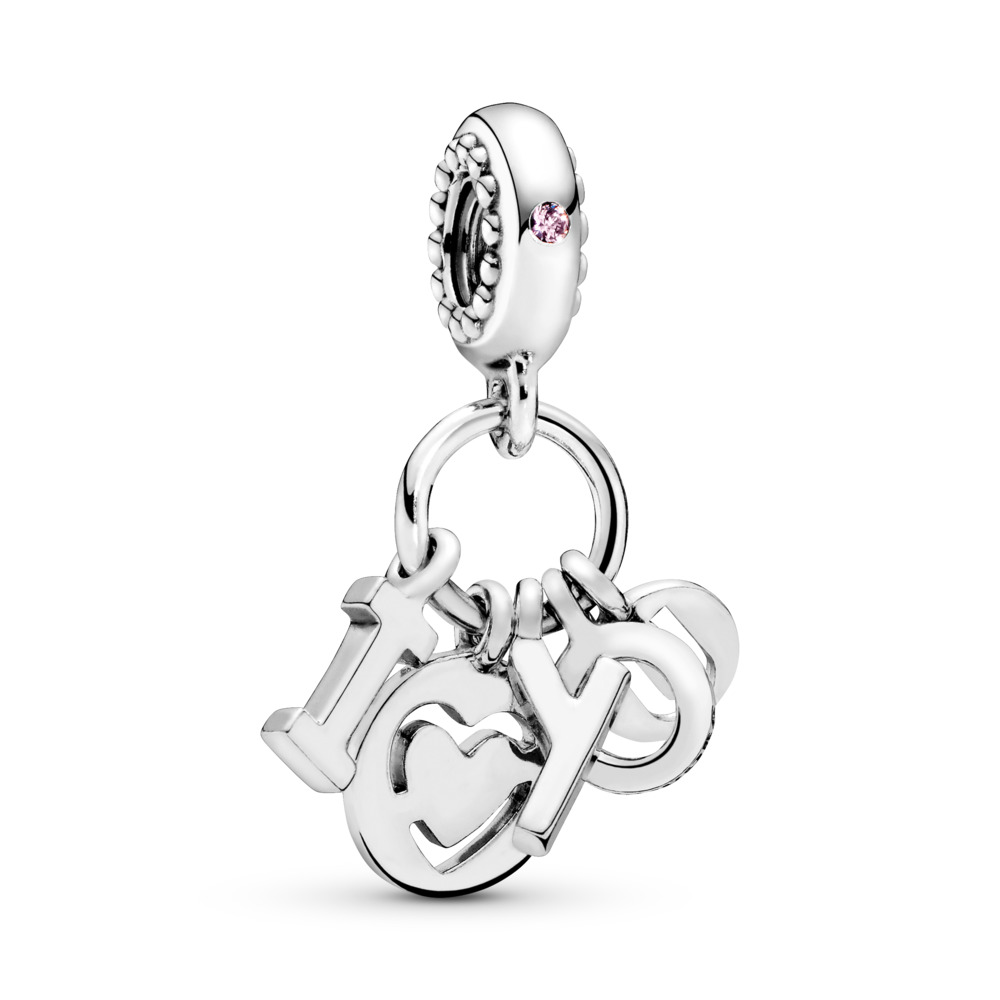 I Love You Letters Dangle Charm, Sterling silver, Pink, Cubic Zirconia - PANDORA - #796596FPC