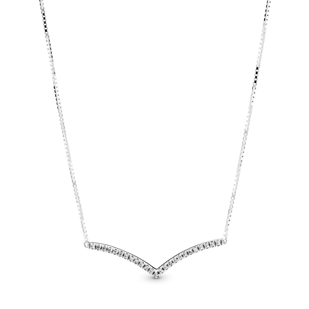 Shimmering Wish Necklace, Clear CZ, Sterling silver, Silicone, Cubic Zirconia - PANDORA - #397802CZ
