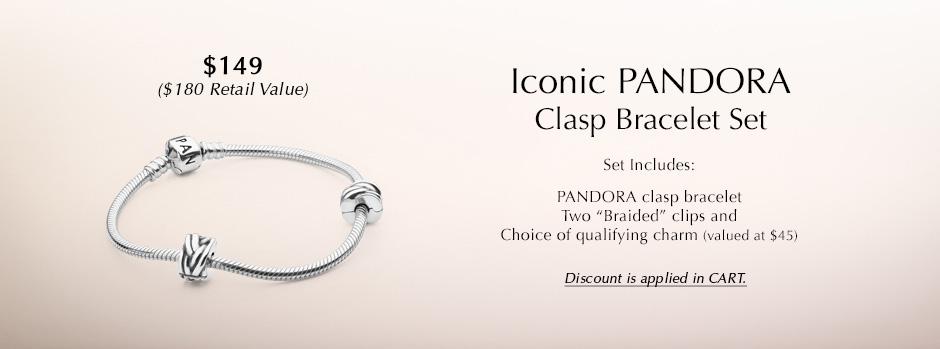 Iconic Pandora Clasp Bracelet Set. Set includes: PANDORA clasp bracelet, Two