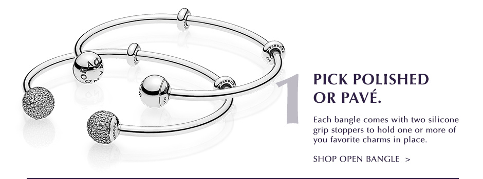 Pick Polished or Pave. Shop Open Bangle.