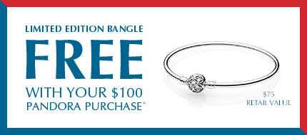 This Memorial Day Weekend, get a free limited edition bangle with your $100 PANDORA purchase. Take advantage of the promotion while supplies last.