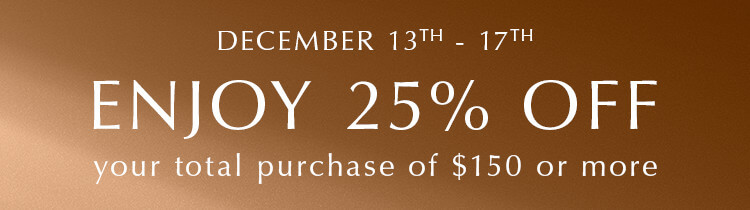 Spend $150, receive 25%, off total PANDORA purchase of full price items at participating retailers and online.